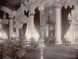 Interior view of Durbar Hall, Palace, Bangalore.